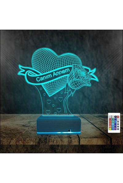 Algelsin 3D LED Kalpli Canım Annem Yazılı Masa Lambası