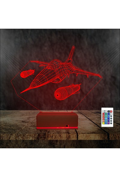 Algelsin 3D LED Savaş Jeti Modelli 16 Renkli Masa Lambası