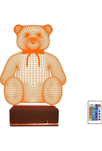 Algelsin 3D LED Sevimli Ayıcıklı 16 Renkli Masa Lambası