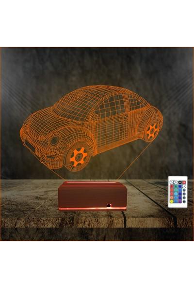 Algelsin 3D LED Tek Kapı Araba Tasarımlı 16 Renkli Masa Lambası