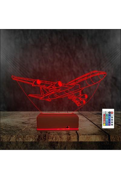 Algelsin 3D LED Uçak Tasarımlı 16 Renkli Masa Lambası