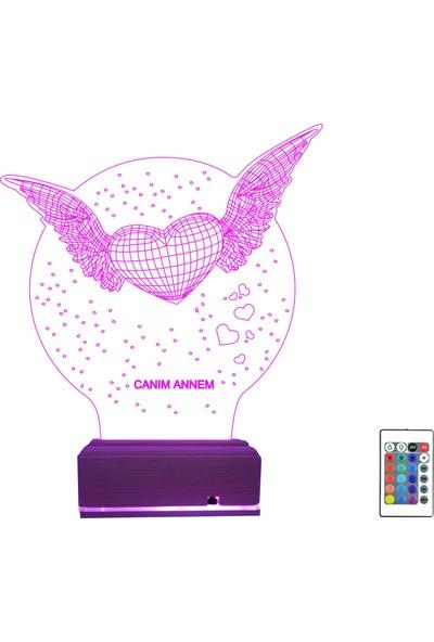 """Algelsin Anneler Gününe Özel 3D LED Kanatlı Kalp Temalı """"Canım Annem"""" Masa Lambası"""