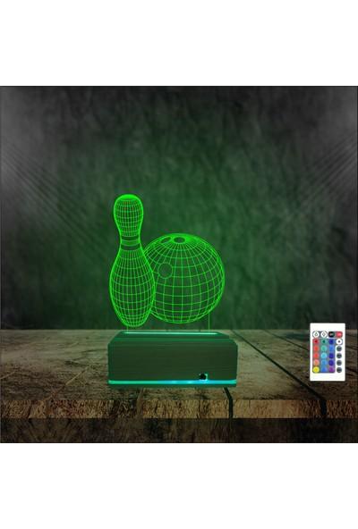 Algelsin Gece Lambası Bowling Tasarımlı 16 Renkli Masa Lamba