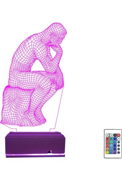 Algelsin Gece Lambası Düşünen Adam Heykeli 3D