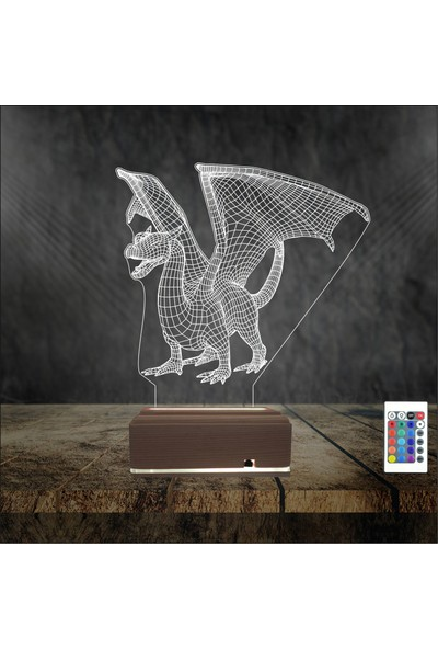 Algelsin Gece Lambası Ejderha Modelli 16 Renkli Masa Lambası