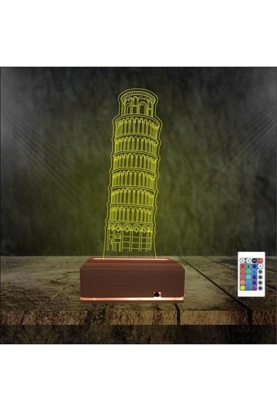 Algelsin LED Italya Pisa Kulesi 16 Renkli Gece Lambası