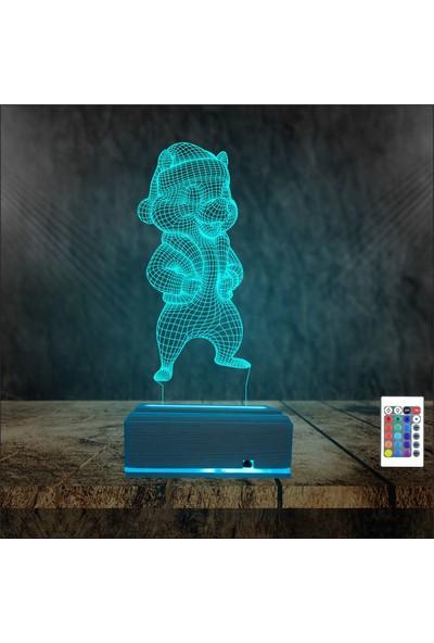 Algelsin LED Sevimli Sincap 16 Renkli Gece Lamba