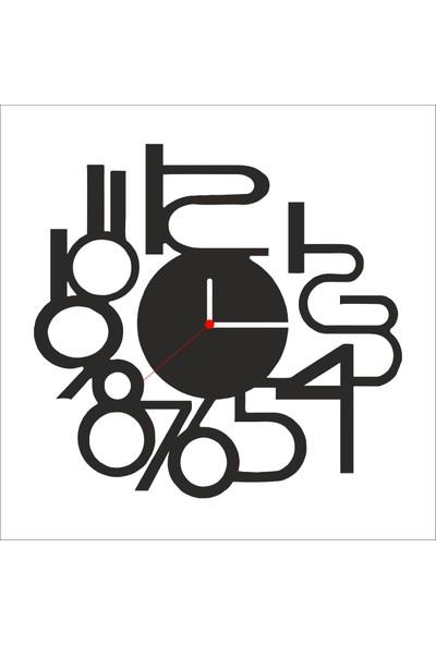 Algelsin Dekoratif Yapışık Sayılar Tasarımlı Ahşap Duvar Saati Mat Siyah Ahşap Mdf 50 x 50 cm