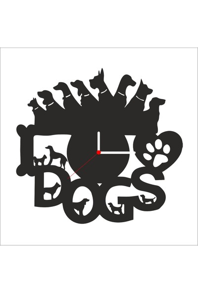 Algelsin Dekoratif Köpek Severler Için Ahşap Duvar Saati Mat Siyah Ahşap Mdf 50 x 50 cm