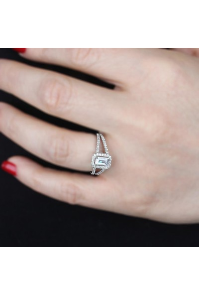 In Love Baget Taşlı Gümüş Yüzük 925 Ayar Gümüş Yüzük