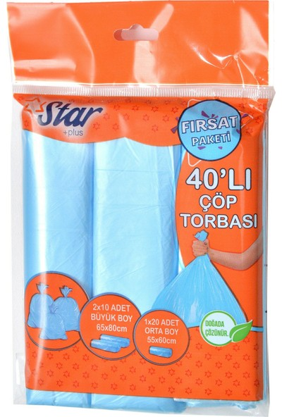 Star Plus 40' Lı Çöp Torbası 5 Paket Fırsat Paketi - 2 Rulo Büyük Boy + 1 Rulo Orta Boy Çöp Poşeti