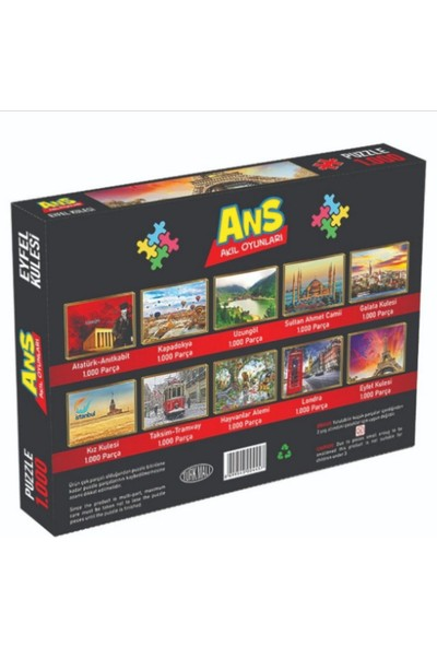 Ans Toys 1000 Parça Puzzle Hayvanlar Alemi Temalı
