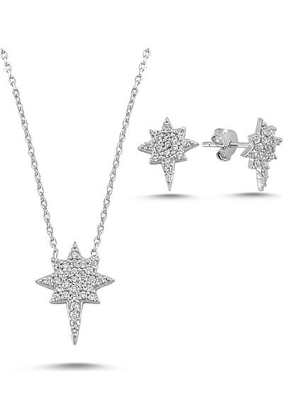 Luxilver Zirkon Taşlı Kuzey Yıldızı Gümüş Ikili Set