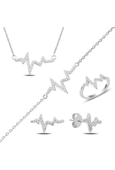 Luxilver Zirkon Taşlı Kalp Ritmi Gümüş 4'lü Set