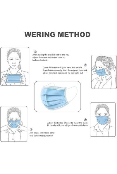 Elya Tek Kullanımlık 3 Katlı Burun Telli Cerrahi Maske 50'li 5 Adet