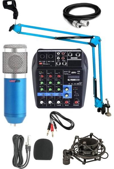 Lastvoice BM800 Mikrofon Phantomlu Mikser + Stand + Shock Mount Set