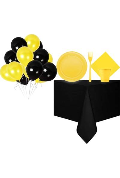Partylandtr Sarı Siyah Renk Doğum Günü Parti Seti 16 Kişilik