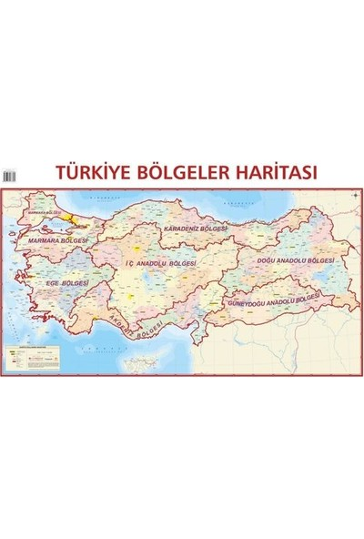 Mepmedya Yayınları Türkiye Bölgeler Haritası 70 x 100 cm