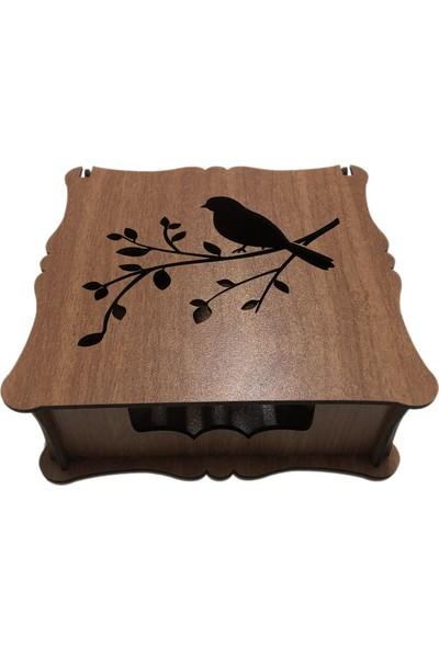 Ref Ahşap Kapaklı Peçetelik Kuşlu