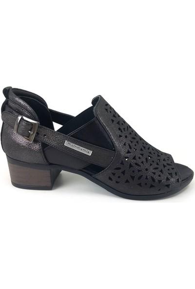 Mammamia D20YA-3345 Kadın Deri Sandalet Çelik Platin