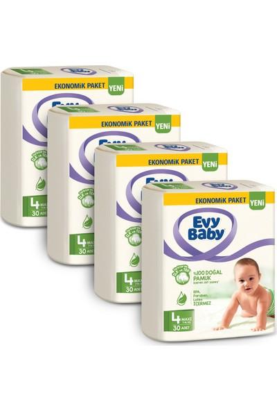Evy Baby Bebek Bezi 4 Beden Maxi 120'LI + 4 Paket Islak Havlu
