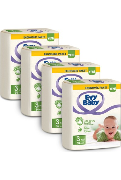 Evy Baby Bebek Bezi 3 Beden Midi 136'LI + 4 Paket Islak Havlu