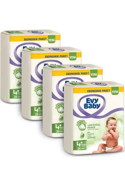 Evy Baby Bebek Bezi 4+ Beden Maxiplus 104'LÜ + 4 Paket Islak Havlu