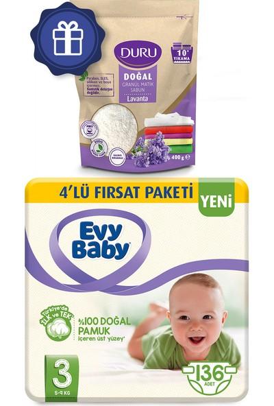 Evy Baby Bebek Bezi 3 Beden Midi 4'lü Fırsat 136'LI Granül Sabun 400 gr