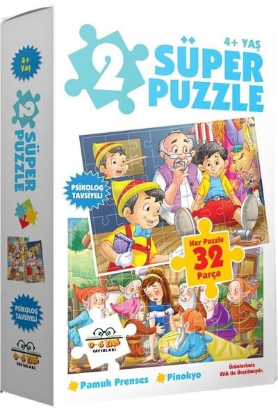 0-6 Yaş Yayınları 2 Süper Puzzle - Pamuk Prenses + Pinokyo