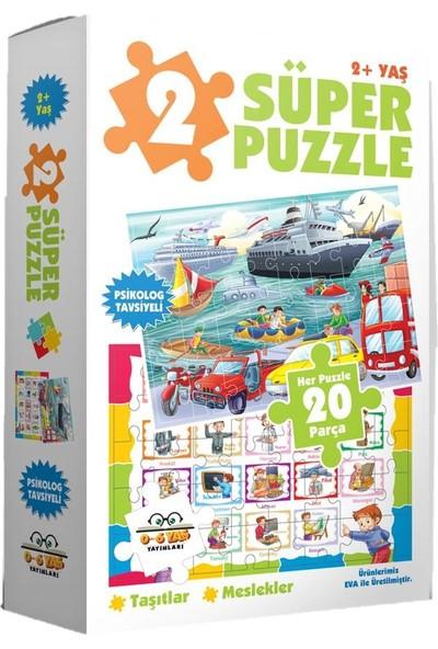 0-6 Yaş Yayınları 2 Süper Puzzle - Taşıtlar + Meslekler