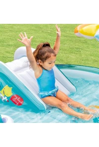 Intex 57165 Şişme Çocuk Havuz Kaydıraklı Bahçe Oyun Merkezi 201X170X84 cm