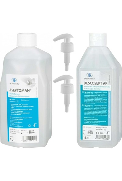 Dr.Schumacher Aseptoman El Dezenfektanı 1 lt + Descosept Af Yüzey Dezenfektanı 1 lt + Pompa 2 Adet