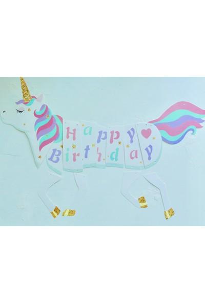 Ohlala Party Unicorn Şeklinde Happy Birthday Yazılı Asma Süs