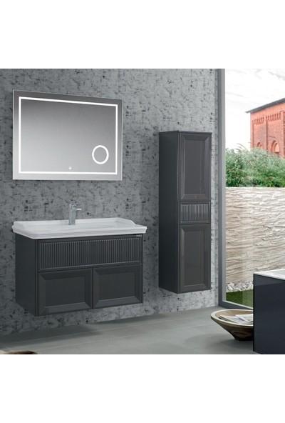 Lineart Deco 100 cm Boy Dolaplı Takım Banyo Dolabı Füme