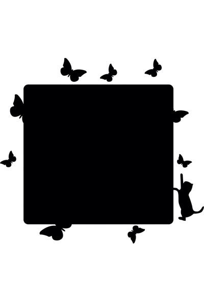 Dnart Yazılabilir Yapışkanlı Kara Tahta Sticker - Kedi Ve Kelebekler Dnart-Cstc0132 38 x 42 cm