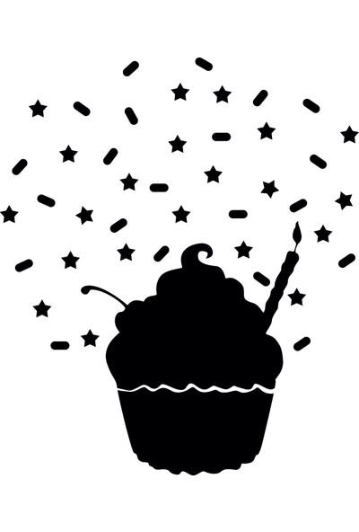 Dnart Yazılabilir Yapışkanlı Kara Tahta Sticker - Muffin3 Dnart-Cstc0180 90 x 70 cm
