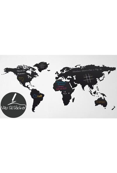 Dnart Yazılabilir Yapışkanlı Kara Tahta Sticker - Dünya Haritası Dnart-Cstc0187 100 x 45 cm