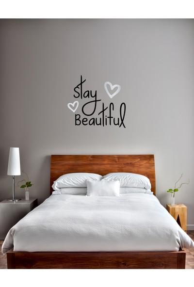 Dnart Gümüş Varaklı Sticker - Stay Beautiful Sılverst-00108 57 x 53 cm