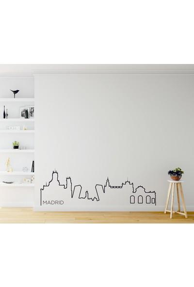 Dnart Dünya Şehirleri Çizgisel Duvar Sticker - Madrid Slıne-Stıcker002 116 x 37 cm