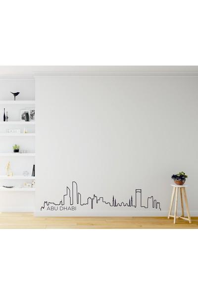Dnart Dünya Şehirleri Çizgisel Duvar Sticker - Abu Dhabi Slıne-Stıcker031 116 x 28 cm