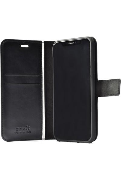 KNY OPPO A9 2020 Kılıf Kapaklı Cüzdanlı Standlı Suni Deri Delux + Nano Cam Ekran Koruyucu Siyah