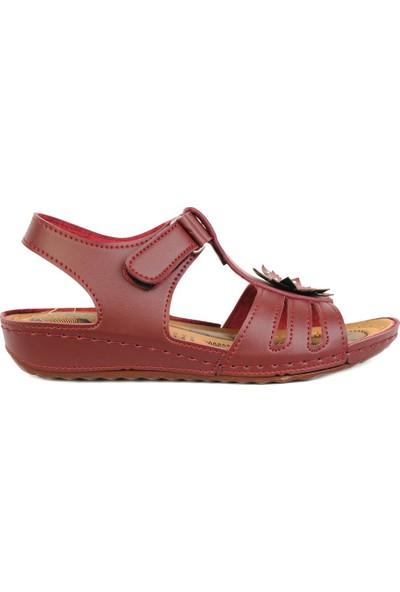Daye 18500 Bordo Cırtlı Günlük Rahat Yazlık Kadın Sandalet