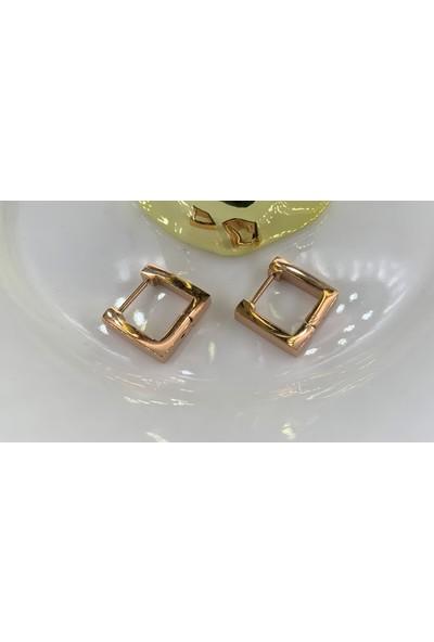 Lily Takı Minimal Kare Kadın Rose Gold Renk Çelik Küpe