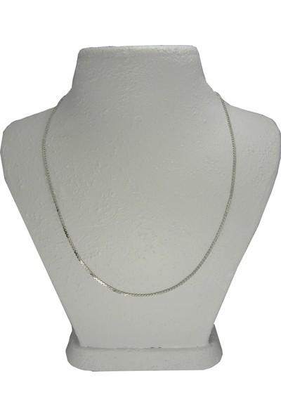 Bijuta Gümüş Kaplama Zincir Kolye 45 cm