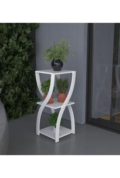 PlatinReyon Kum Saati Modeli Saksılık Beyaz