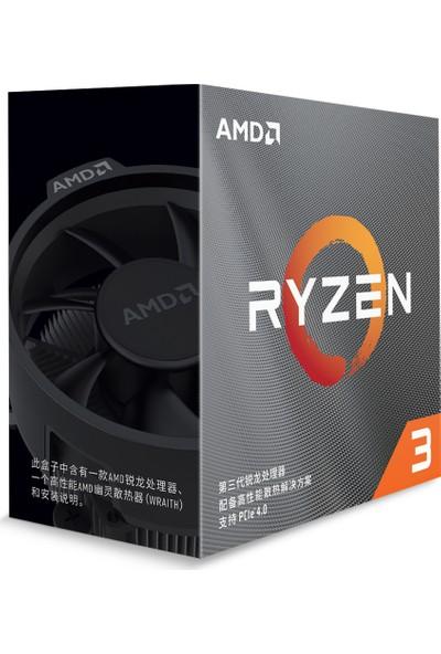 AMD Ryzen 3 3100 3.9GHz 18MB Cache AM4Soket Wraith Soğutucu 65W İşlemci