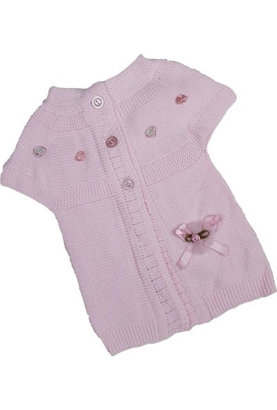 Recos Kız Bebek Modelli Triko Yelek 6-24 Ay Pembe