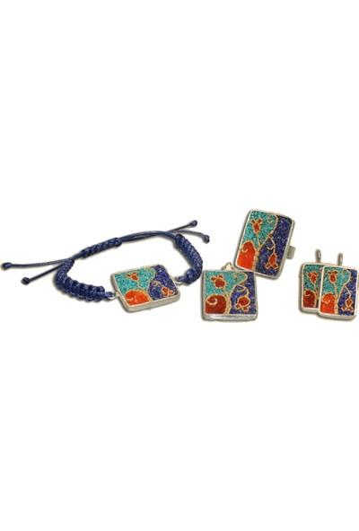 Antik Mozaik Anadolu Esintileri Gümüş Set 5 Parça - Firuze ( Turkuaz ) , Mercan ve Kuvars Taşlardan 925 Ayar Gümüş Set