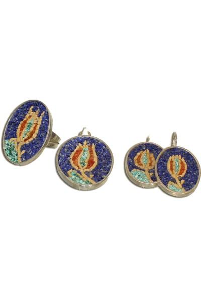 Antik Mozaik Lale Devri Gümüş Set 4 Parça - Firuze ( Turkuaz ) , Mercan ve Kuvars Taşlardan 925 Ayar Gümüş Set