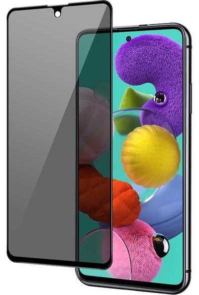 Happyshop Samsung Galaxy A51 5D Privacy Cam Ekran Koruyucu Siyah